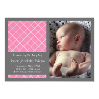 Diamond Background New Baby Announcements (Pink)