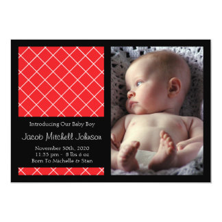 Diamond Background New Baby Announcements (Red)