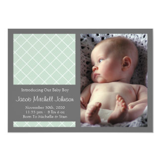 Diamond Background New Baby Announcements (Sage)