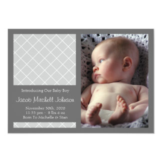 Diamond Background New Baby Announcements (Silver)