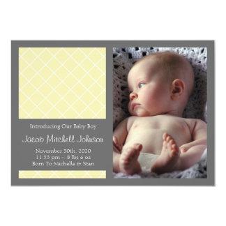 Diamond Background New Baby Announcements (Yellow)