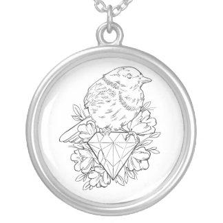Diamond Bird Silver Plated Necklace