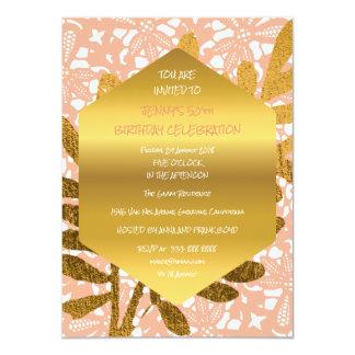 Diamond Birthday Peach Pastel Gold Leaf Lace Card