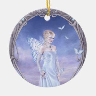 Diamond Birthstone Fairy Round Ceramic Ornament