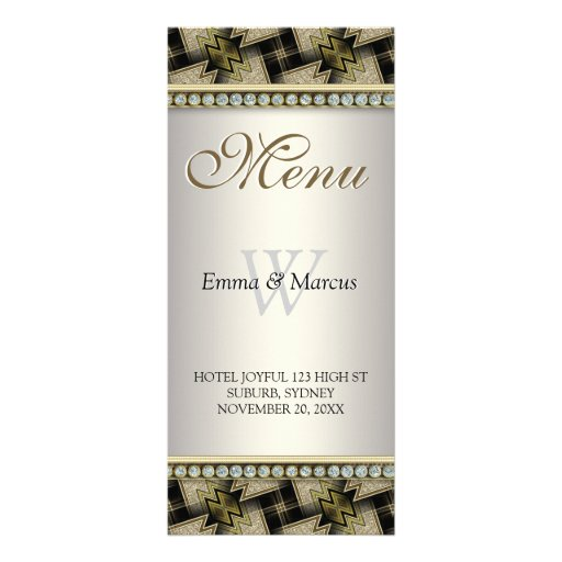 Diamond Black Gold Pattern Monogram Wedding Menu
