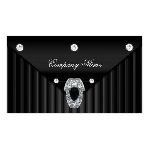 Diamond Black Metal Look Silver Business Card