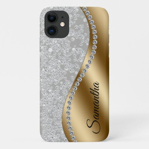 Diamond Bling Gold Metal Personalized Galm iPhone 11 Case