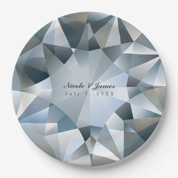 Diamond Bling Jewelry Elegant Jewel Party Paper Plate