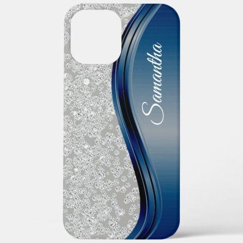 Diamond Bling Navy Blue Monogram Name Phone Case