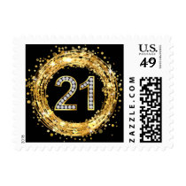 Diamond Bling Number 21 Glitter Confetti | gold Postage