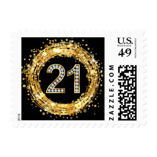 Diamond Bling Number 21 Glitter Confetti   gold Postage Stamp