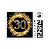 Diamond Bling Number 30 Glitter Confetti | gold Postage