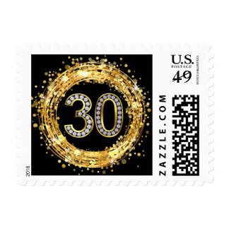 Diamond Bling Number 30 Glitter Confetti | gold Postage Stamp