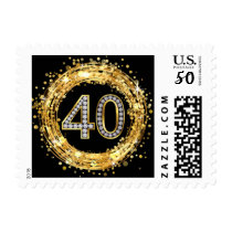 Diamond Bling Number 40 Glitter Confetti   gold Postage