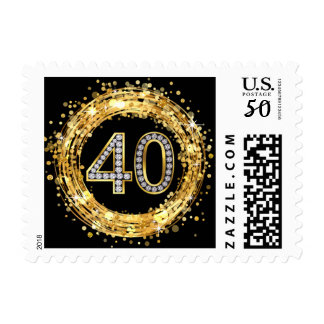 Diamond Bling Number 40 Glitter Confetti | gold Postage