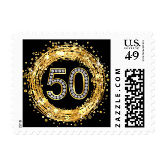 Diamond Bling Number 50 Glitter Confetti   gold Postage Stamp