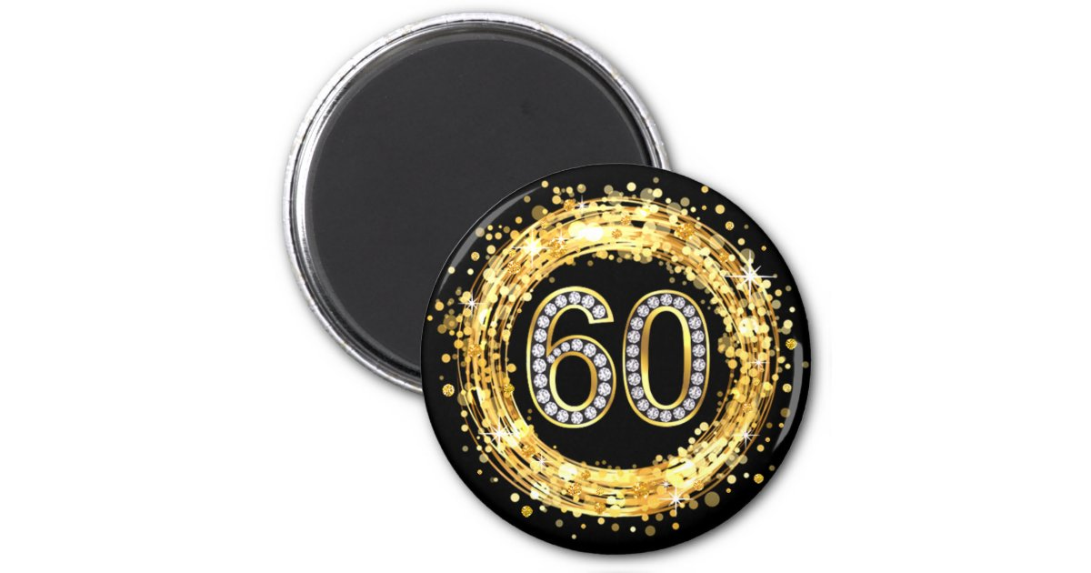 Bling number 60 glitter confetti gold 2 inch round magnet zazzle