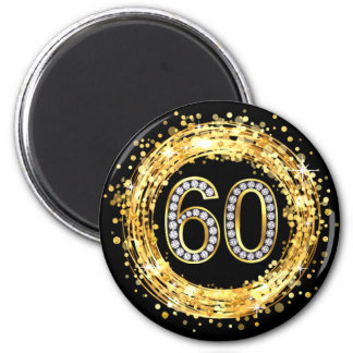 Diamond Bling Number 60 Glitter Confetti | gold Magnet