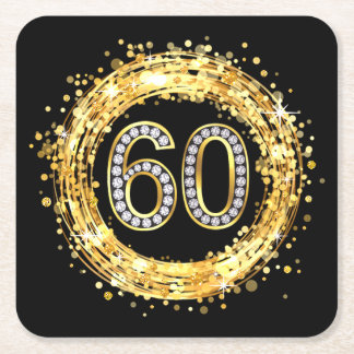 Diamond Bling Number 60 Glitter Confetti | gold Square Paper Coaster