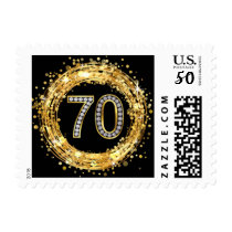 Diamond Bling Number 70 Glitter Confetti | gold Postage