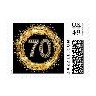 Diamond Bling Number 70 Glitter Confetti | gold Stamp