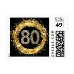 Diamond Bling Number 80 Glitter Confetti | gold Postage Stamp