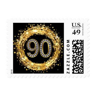 Diamond Bling Number 90 Glitter Confetti | gold Stamp