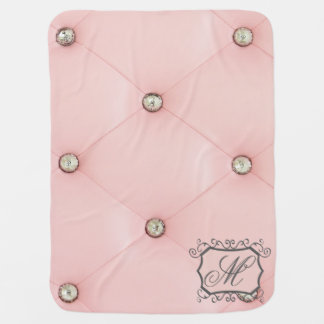 Diamond Bling Pink Tufted Leather Baby Blanket