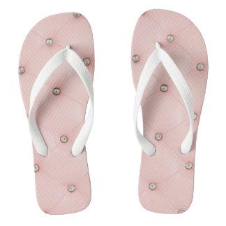 Diamond Bling Pink Tufted Leather Flipflop Sandals Flip Flops