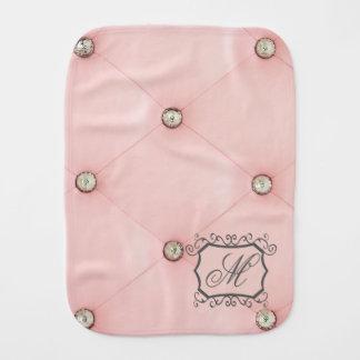 Diamond Bling Pink Tufted Leather Jewel Burp Cloth