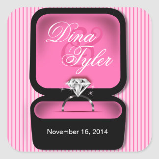 Diamond Bling Ring Box square pink Square Sticker