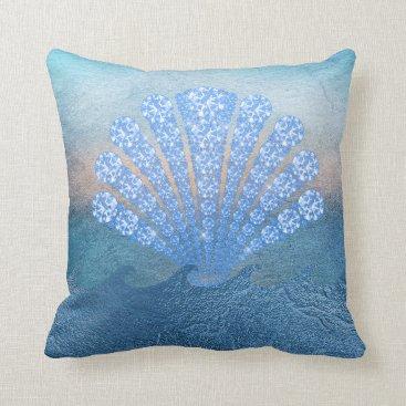 Beach Themed Diamond Blue Sea Throw Pillow