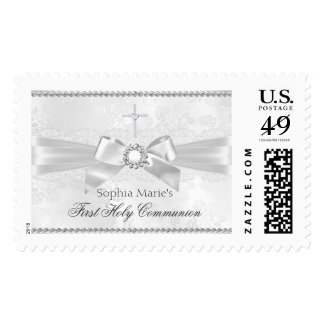 Diamond Bow & Cross First Holy Communion Stamp Postage Stamps