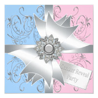Diamond Bow Elegant Pink Blue Gender Reveal Invitation