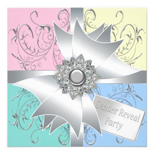 Diamond Bow Elegant Pink Blue Gender Reveal Party Custom Invite