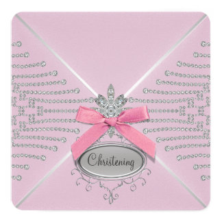 "Diamond Bow Pink Christening 5.25"" Square Invitation Card"