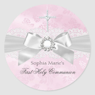 Diamond Bow Pink First Holy Communion Sticker