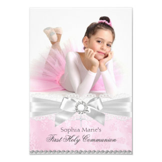 Diamond Bow Pink Photo First Holy Communion Card
