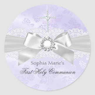 Diamond Bow Purple First Holy Communion Sticker