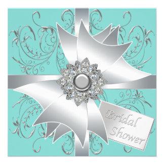 Diamond Bow Silver Teal Blue Bridal Shower Custom Invitations