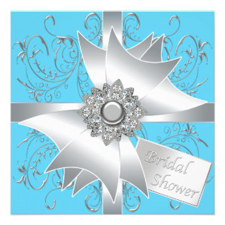 Diamond Bow Silver Teal Blue Bridal Shower Invitations