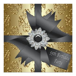 Diamond Bow Womans Black Gold 55th Birthday Party Card