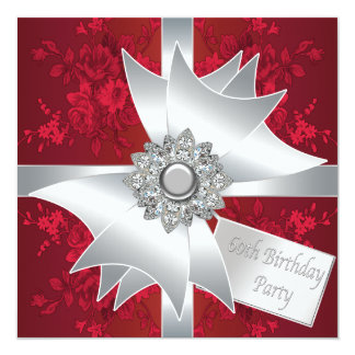 Diamond Bow Womans Red Rose 60th Birthday Party Card