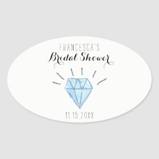 Diamond Bridal Shower Favor Stickers - Oval