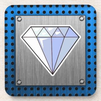 Diamond; Brushed metal-look Drink Coaster