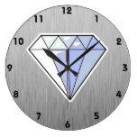 Diamond; Brushed metal-look Wall Clocks