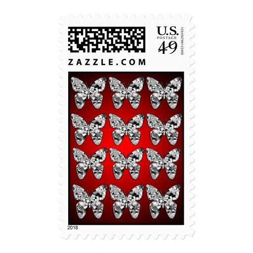 Diamond Butterflies Postage Stamps
