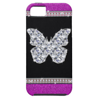 Diamond Butterfly Hot Pink Glitter iPhone 5 Cases