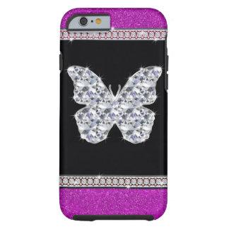 Diamond Butterfly Hot Pink Glitter Tough iPhone 6 Case