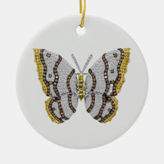 Diamond Butterfly Print Ceramic Ornament